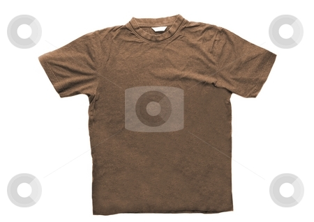T-shirt stock photo, Brown t-shirt isolated on white background by P?