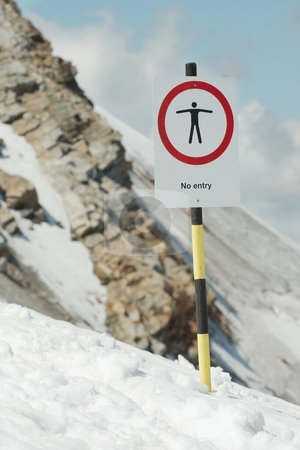 No entry stock photo, No entry sign at a dangerous part of a mountain by P?