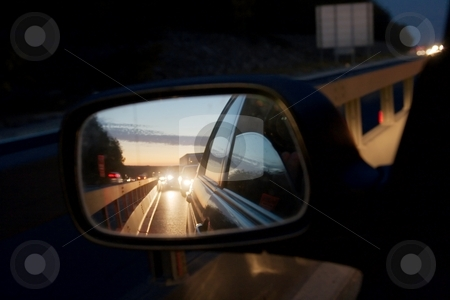 Mirror stock photo, Mirror in the night reflecting traffic jam by P?