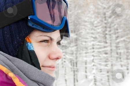 Skier stock photo, Portrait of a woman in skiing by P?