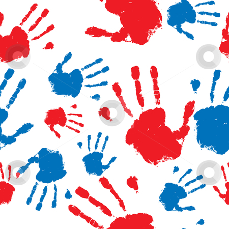 Seamless hand prints pattern stock vector clipart, Grunge hand prints in red and blue seamless pattern background by Michael Travers