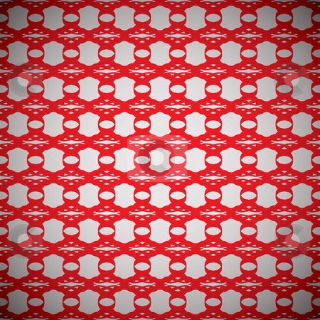 Floral link wallpaper red stock vector clipart, Red seamless repeat pattern with silver background by Michael Travers