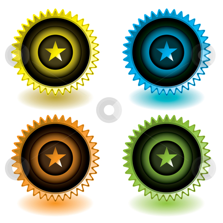 Modern icon star stock vector clipart, Brightly colored web icons with room to add text ideal symbol by Michael Travers