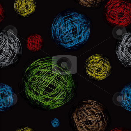 Scribble ball color black stock vector clipart, Brightly coloured scribble calls with black seamless background by Michael Travers