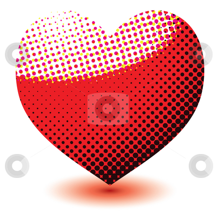 Halftone love heart stock photo, Abstract love heart made of halftone dots with a drop shadow by Michael Travers