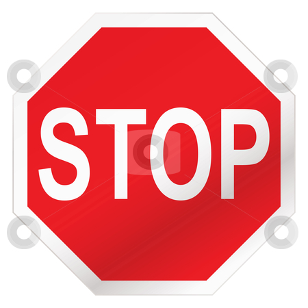 Stop road sign stock vector clipart, Red stop road sign illustration with white background by Michael Travers