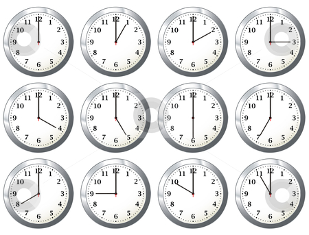 Office clock all times stock vector clipart, Office wall clock with full days time variations with hour hand by Michael Travers