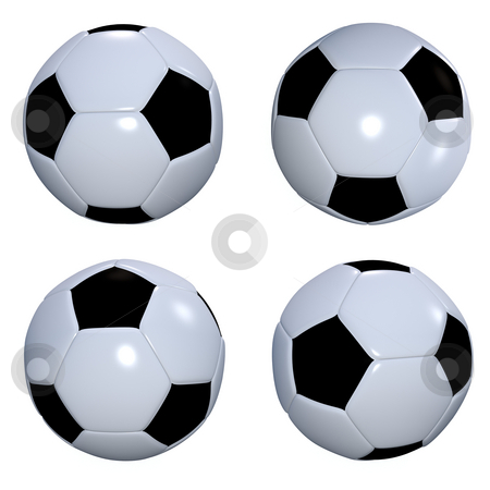 Football collection stock photo, Collection of four black and white footballs or soccer balls by Michael Travers