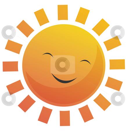 Cartoon Sun Face stock photo, Cartoon illustration of a sun with a smile face. by Su Li