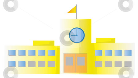 School building stock photo, School building isolate in a white background by Su Li