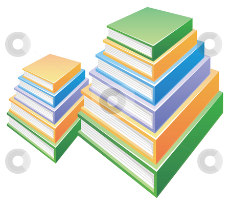 Two Pile of  books stock photo, Two pile of books in a white background by Su Li