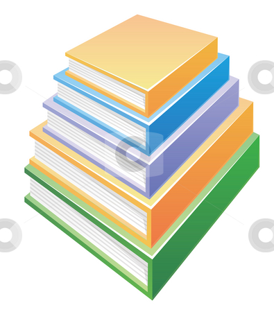 Pile of books stock photo, A pile of books in a white background by Su Li