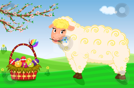Easter card with cute sheep stock vector clipart, Celebrating Easter and the arrival of spring with basket with decorated eggs and cute sheep on the farm. Vector file saved as EPS AI8, all elements layered and grouped. by Andreea Chiper