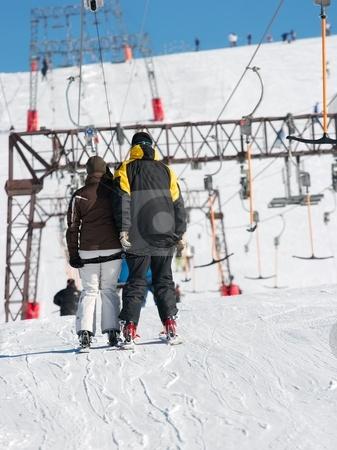 Ski stock photo, Skiers on a ski lift by P?