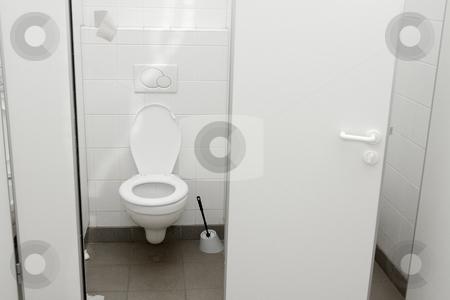 WC stock photo, Public toilet with open door by P?