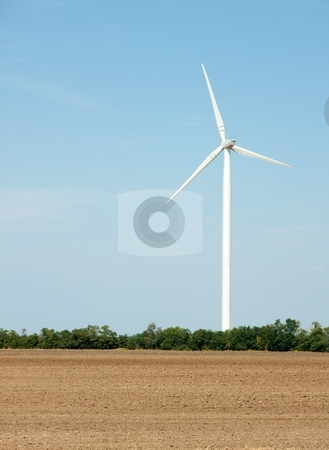 Wind power stock photo, Wind power station on an open field by P?