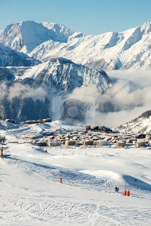 Ski resort stock photo, High mountain ski resort in France by P?