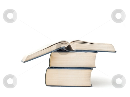 Books stock photo, Pile of thick books isolated on white by P?