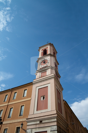 Clock Tower stock photo, An old clock tower in a medieval town by Kevin Tietz