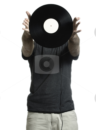 Record Man stock photo, Man isolated on a white background is showing off an old lp record. by Richard Nelson