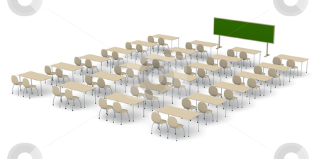 Classroom stock photo, 3D rendered Illustration. by Michael Osterrieder