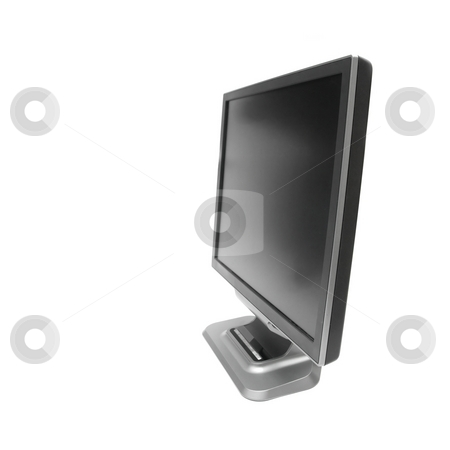 Monitor stock photo, Black LCD monitor isolated on white background by P?