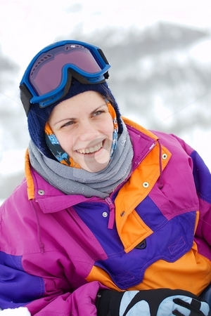 Skier stock photo, Young female skier laughing happily by P?