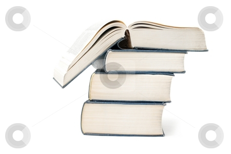 Books stock photo, A pile of thick books isolated on a white by P?