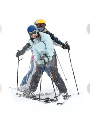Skiers stock photo, A group of happy skiers in heavy snowfall by P?