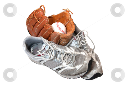 Old Shoes, Baseball, and Glove stock photo, Old shoes with baseball in glove isolated on white background with clipping path. by Danny Hooks