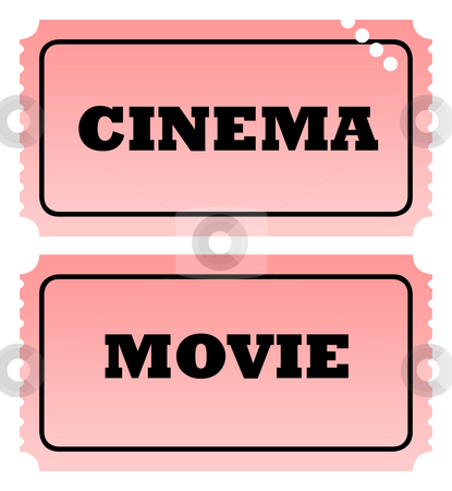 Cinema and movie tickets stock photo, Cinema and movie tickets isolated on white background. by Martin Crowdy