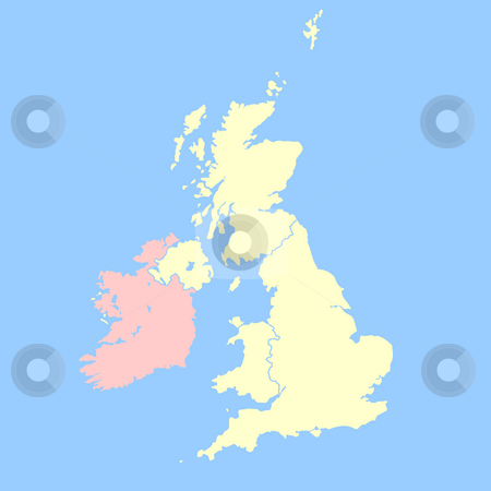 United Kingdom and Ireland map stock photo, United Kingdom map isolated on a blue background. by Martin Crowdy