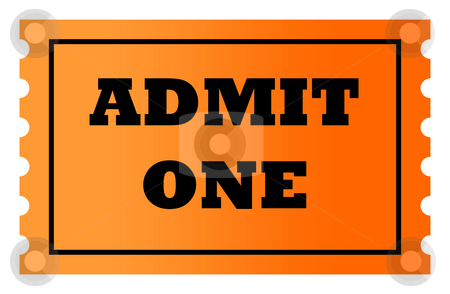 Admit one ticket stock photo, Admit one orange gradient ticket with copy space, isolated on white background. by Martin Crowdy