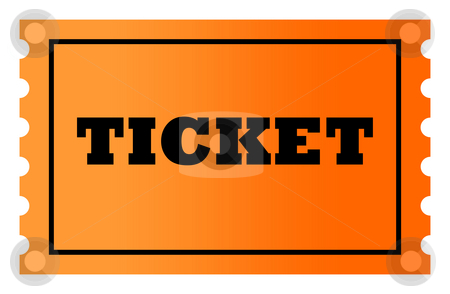 Orange ticket stock photo, Orange gradient ticket with copy space, isolated on white background. by Martin Crowdy