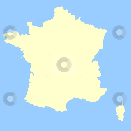 France map stock photo, Map of France isolated on a blue background. by Martin Crowdy