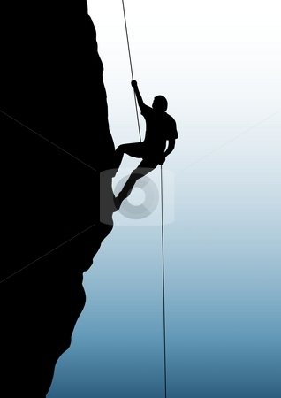 Rock-climbing stock photo, Illustration of a person rock climbing by Darren Whittingham