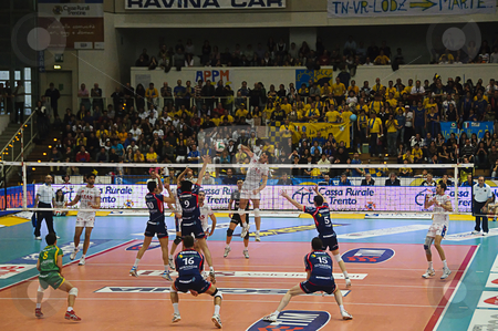 Italian male volley Championship 2009/2010 - ITAS  Diatec Trenti stock photo, Game 1 of Playoff Semifinals between ITAS Diatec Trentino Volley and Lube Banca Marche Macerata. Powerful hit from the 2nd line by Matey Kaziyski. Photo taken on the 18th of April, 2010. by Alessandro Rizzolli