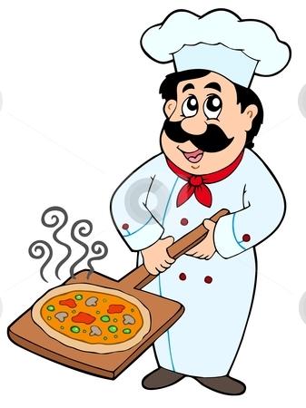 Chef holding pizza plate stock vector clipart, Chef holding pizza plate - vector illustration. by Klara Viskova