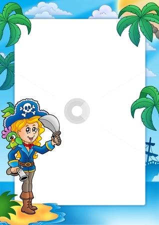 Frame with pretty pirate girl stock photo, Frame with pretty pirate girl - color illustration. by Klara Viskova