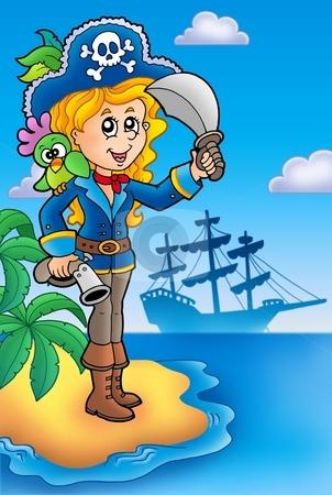 Pretty pirate girl on island stock photo, Pretty pirate girl on island - color illustration. by Klara Viskova