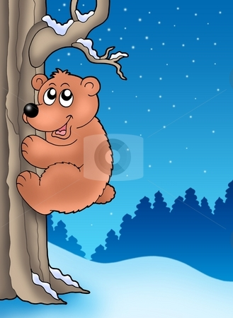 Cute bear climbing tree stock photo, Cute bear climbing tree - color illustration. by Klara Viskova