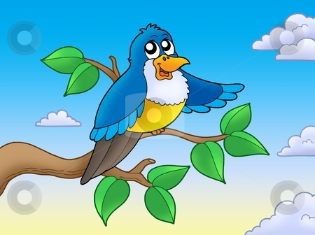 Cute blue bird on branch stock photo, Cute blue bird on branch - color illustration. by Klara Viskova
