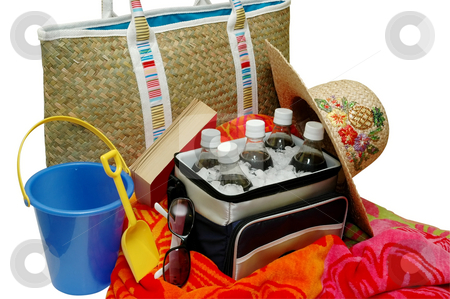Beach Time stock photo, Beach items.  Cooler,drinks,sun hat,sunglasses,beach bag,beach towel,sand pail. by Danny Hooks