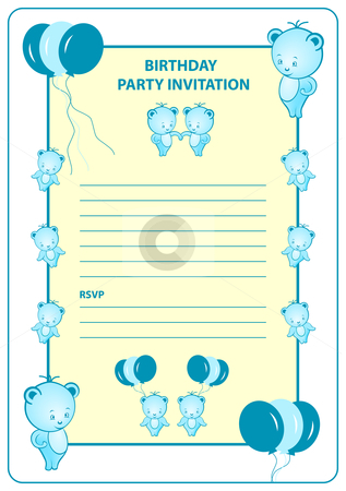 Childs Birthday Party Invitation Card Stock Vector