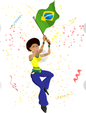 Black Girl Brazil Soccer Fan with flag. stock vector clipart, Black Girl Brazil Soccer Fan with flag. Editable Vector Illustration by Augusto Cabral Graphiste Rennes