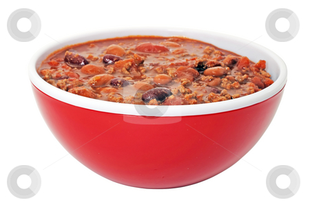 Chili with Beans Isolated stock photo, Bowl of chili with beans isolated on white background. by Danny Hooks