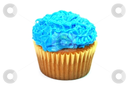 Blue Cupcake stock photo, Cupcake with blue decorative frosting.  Isolated on white background. by Danny Hooks