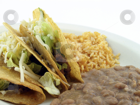 Tacos with refried beans stock photo, Tacos, refried beans and rice on a plate by Christy Thompson