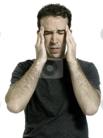 Headache stock photo, A young man wearing a t-shirt is suffering from a headache, isolated against a white background by Richard Nelson