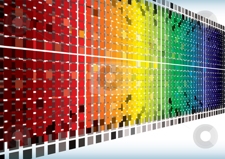 Rainbow burst angle background stock photo, Brightly colored abstract rainbow background with shooting squares by Michael Travers